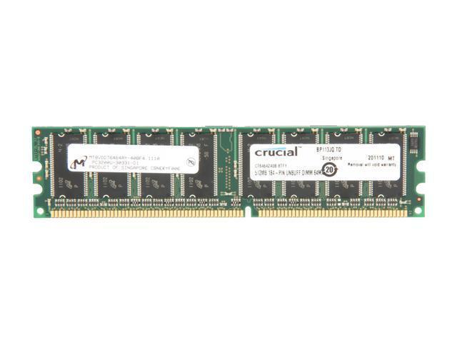 Crucial 512MB 184-Pin DDR SDRAM DDR 400 (PC 3200) Desktop Memory Model CT6464Z40B - OEM