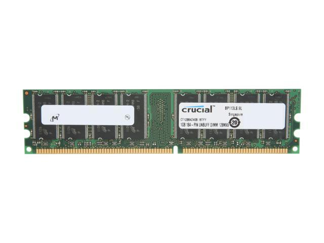 Crucial 1GB 184-Pin DDR SDRAM DDR 400 (PC 3200) Desktop Memory Model CT12864Z40B - OEM