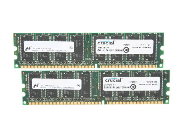 Crucial 1GB (2 x 512MB) 184-Pin DDR SDRAM DDR 400 (PC 3200) Desktop Memory Model CT2KIT6464Z40B