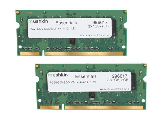 Mushkin Enhanced Essentials 2GB (2 x 1GB) 200-Pin DDR2 SO-DIMM DDR2 667 (PC2 5300) Dual Channel Kit Laptop Memory Model 996617