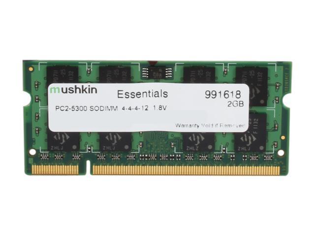 Mushkin Enhanced Essentials 2GB 200-Pin DDR2 SO-DIMM DDR2 667 (PC2 5300) Laptop Memory Model 991618