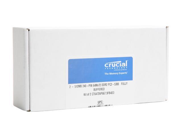 Crucial 1GB (2 x 512MB) DDR2 667 (PC2 5300) ECC Fully Buffered Dual Channel Kit Memory for Apple Server & Mac Pro Model CT2KIT6472AP667