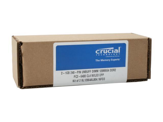 Crucial Ballistix Tracer 2GB (2 x 1GB) 240-Pin DDR2 SDRAM DDR2 800 (PC2 6400) Dual Channel Kit Desktop Memory Model BL2KIT12864AL804