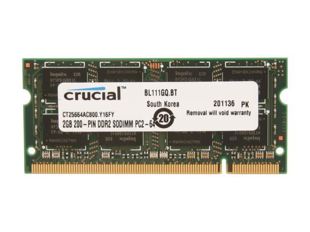 Crucial 2GB 200-Pin DDR2 SO-DIMM DDR2 800 (PC2 6400) Laptop Memory Model CT25664AC800