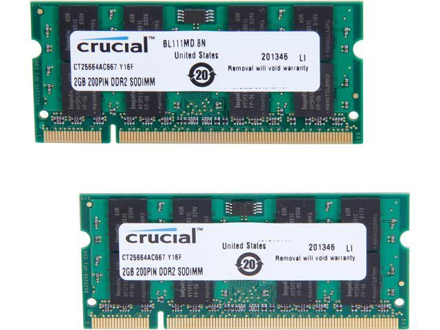 Crucial 4GB (2 x 2GB) 200-Pin DDR2 SO-DIMM DDR2 667 (PC2 5300) Laptop Memory Model CT2KIT25664AC667