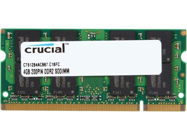 Crucial 4GB 200-Pin DDR2 SO-DIMM DDR2 667 (PC2 5300) Laptop Memory Model CT51264AC667