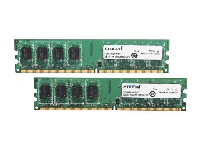 Crucial 4GB (2 x 2GB) 240-Pin DDR2 SDRAM DDR2 1066 (PC2 8500) Dual Channel Kit Desktop Memory Model CT2KIT25664AA1067