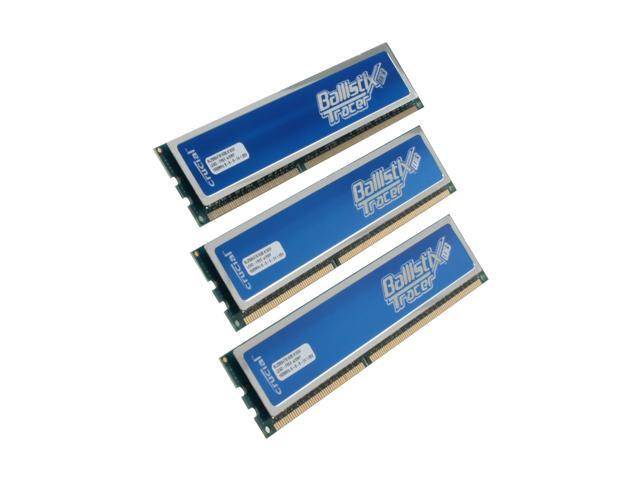 Crucial Ballistix Tracer 6GB (3 x 2GB) 240-Pin DDR3 SDRAM DDR3 1600 (PC3 12800) Desktop Memory w/ Blue LEDs Model BL3KIT25664TB1608