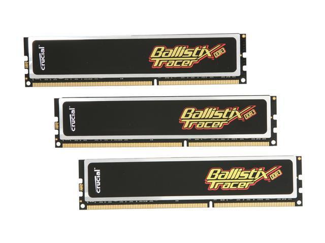 Crucial Ballistix Tracer 6GB (3 x 2GB) 240-Pin DDR3 SDRAM DDR3 1600 (PC3 12800) Desktop Memory w/ Red & Green LEDs Model BL3KIT25664TN1608