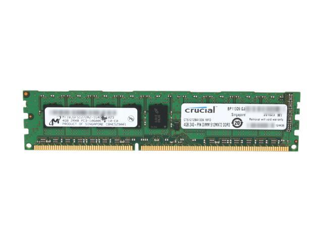 Crucial 4GB 240-Pin DDR3 SDRAM ECC Unbuffered DDR3 1333 (PC3 10600) Server Memory Model CT51272BA1339