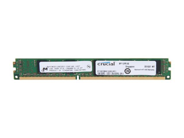 Crucial 1GB 240-Pin DDR3 SDRAM ECC Registered DDR3 1333 (PC3 10600) Memory Model CT12872BW1339S
