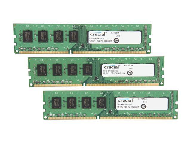 Crucial 12GB (3 x 4GB) 240-Pin DDR3 SDRAM DDR3 1333 (PC3 10600) Desktop Memory Model CT3KIT51264BA1339