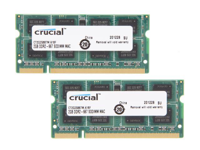 Crucial 4GB (2 x 2GB) 200-Pin DDR2 SO-DIMM DDR2 667 (PC2 5300) Memory for Apple Model CT2K2G2S667M