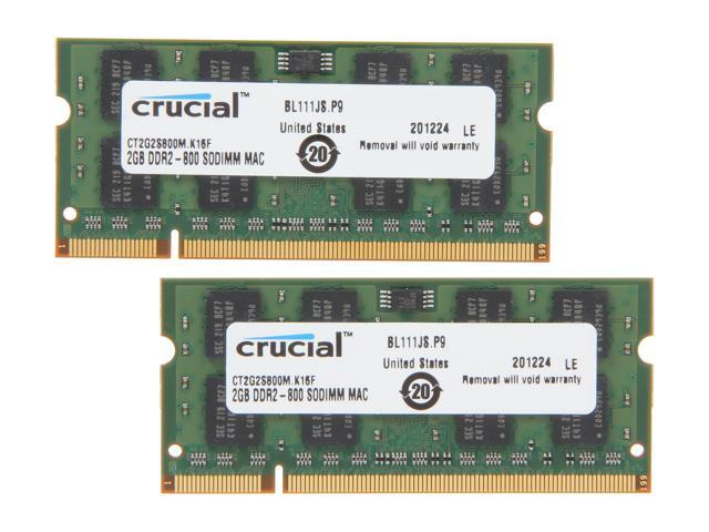 Crucial 4GB (2 x 2GB) DDR2 800 (PC2 6400) Memory for Apple Model CT2K2G2S800M