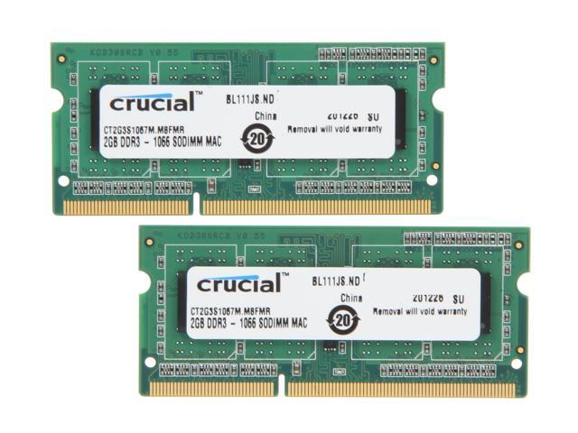 Crucial 4GB (2 x 2GB) 204-Pin DDR3 SO-DIMM DDR3 1066 (PC3 8500) Memory for Apple Model CT2K2G3S1067M