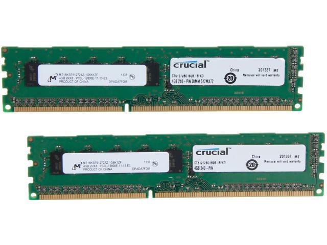 Crucial 8GB (2 x 4GB) 240-Pin DDR3 SDRAM ECC Unbuffered DDR3 1600 (PC3 12800) Server Memory Model CT2KIT51272BD160B