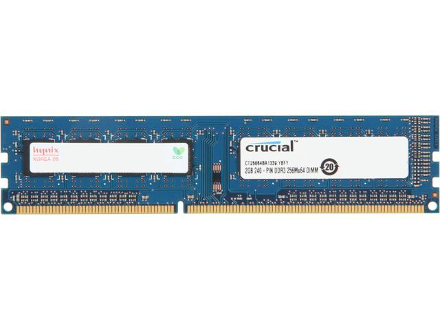 Crucial 2GB 240-Pin DDR3 SDRAM DDR3 1333 (PC3 10600) Desktop Memory Model CT25664BA1339.8FD
