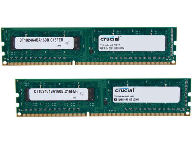 Crucial 16GB (2 x 8GB) 240-Pin DDR3 SDRAM DDR3 1600 (PC3 12800) Desktop Memory Model CT2KIT102464BA160B