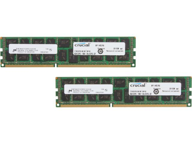 Crucial 16GB (2 x 8GB) 240-pin DIMM Registered DDR3 1066 (PC3 8500) Memory Modules Model CT2K8G3ERSLQ81067