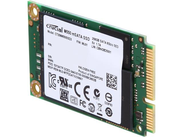 Crucial M550 CT256M550SSD3 mSATA 256GB SATA 6Gb/s MLC Internal Solid State Drive (SSD)