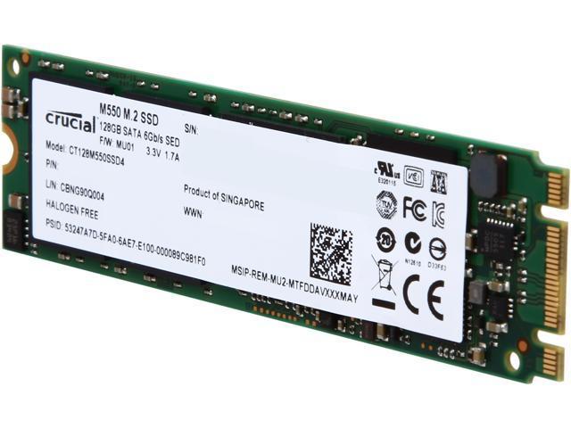 Crucial M550 M.2 Type 2280 128GB SATA 6Gb/s MLC Internal Solid State Drive (SSD) CT128M550SSD4
