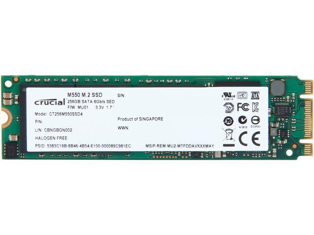 Crucial M550 M.2 Type 2280 256GB SATA 6Gb/s MLC Internal Solid State Drive (SSD) CT256M550SSD4