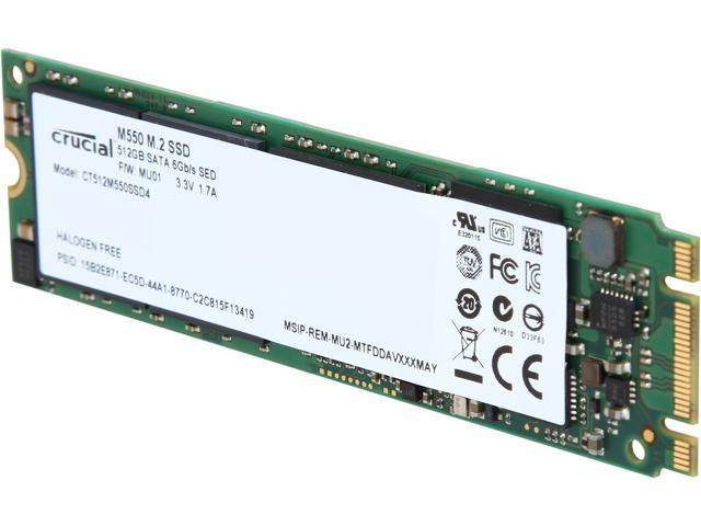 Crucial M550 M.2 Type 2280 512GB SATA 6Gb/s MLC Internal Solid State Drive (SSD) CT512M550SSD4