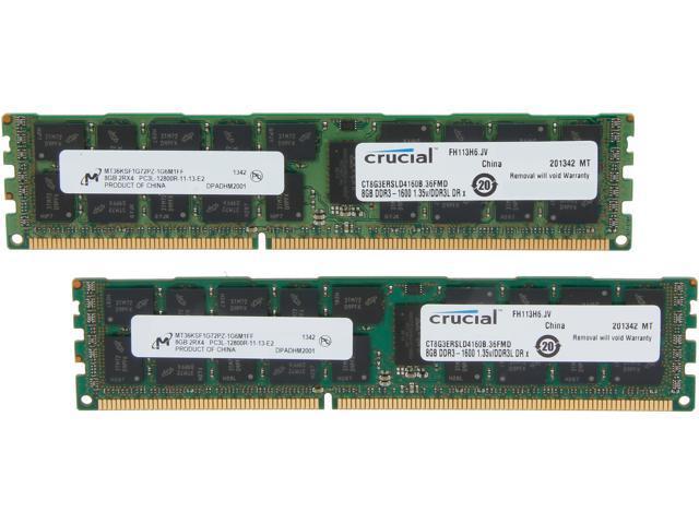 Crucial 16GB (2 x 8GB) 240-Pin DDR3 SDRAM ECC Registered DDR3 1600 (PC3 12800) Server Memory Model CT2K8G3ERSLD4160B