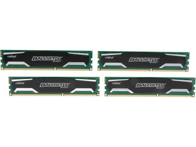 Crucial Ballistix Sport 16GB (4 x 4GB) 240-Pin DDR3 SDRAM DDR3 1600 (PC3 12800) Desktop Memory Model BLS4KIT4G3D1609DS1S00