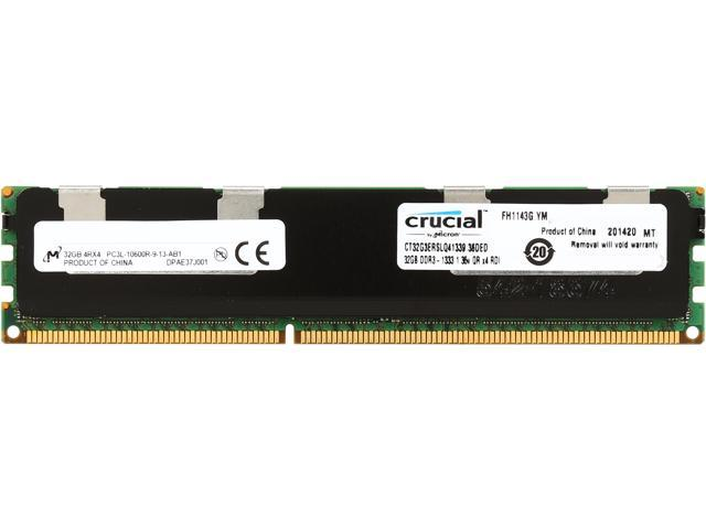 Crucial 32GB 240-Pin DDR3 SDRAM ECC Registered DDR3 1333 (PC3 10600) Server Memory Model CT32G3ERSLQ41339