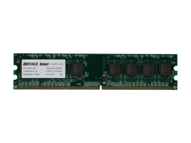 BUFFALO Select 1GB 240-Pin DDR2 SDRAM DDR2 667 (PC2 5300) Desktop Memory Model D2U667C-1G/BR