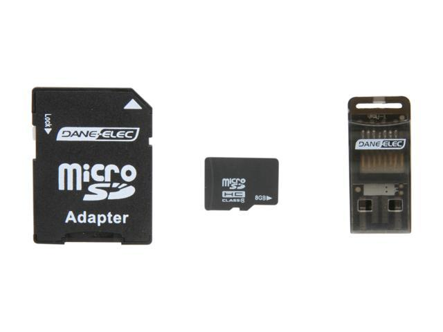 DANE-ELEC 8GB microSDHC Flash Card Universal Connectivity Kit with SD & USB Adapter Model DA-3in1C1008G-R