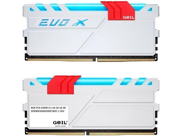 GeIL EVO X 16GB (2 x 8GB) 288-Pin DDR4 SDRAM DDR4 3200 (PC4 25600) Memory (Desktop Memory) Model GEXW416GB3200C16DC