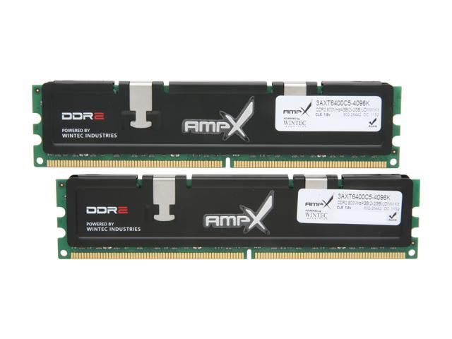 Wintec AMPX 4GB (2 x 2GB) 240-Pin DDR2 SDRAM DDR2 800 (PC2 6400) Dual Channel Kit Desktop Memory Model 3AXT6400C5-4096K