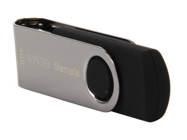Wintec FileMate 4GB USB 2.0 Swivel Flash Drive (Black)