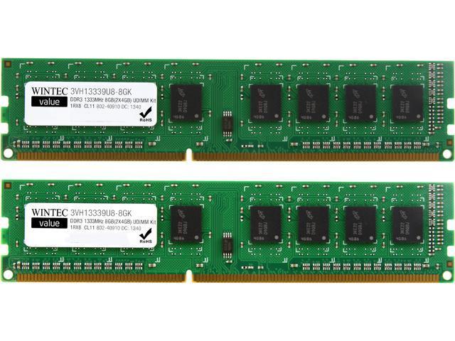 Wintec Value 8GB (2 x 4GB) 240-Pin DDR3 SDRAM DDR3 1333 (PC3 10600) Desktop Memory Model 3VH13339U8-8GK