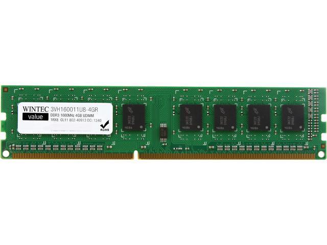 Wintec Value 4GB 240-Pin DDR3 SDRAM DDR3 1600 (PC3 12800) Desktop Memory Model 3VH160011U8-4GR