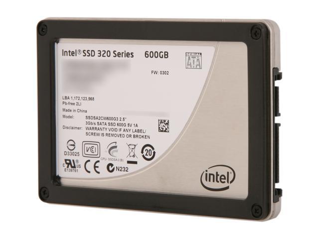 """Intel 320 Series 2.5"""" 600GB SATA II MLC Internal Solid State Drive (SSD) SSDSA2CW600G310 - OEM"""