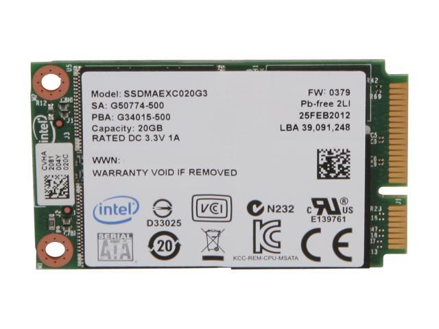Intel 313 Series 20GB Mini-SATA (mSATA) SLC Internal Solid State Drive (SSD) SSDMAEXC020G301