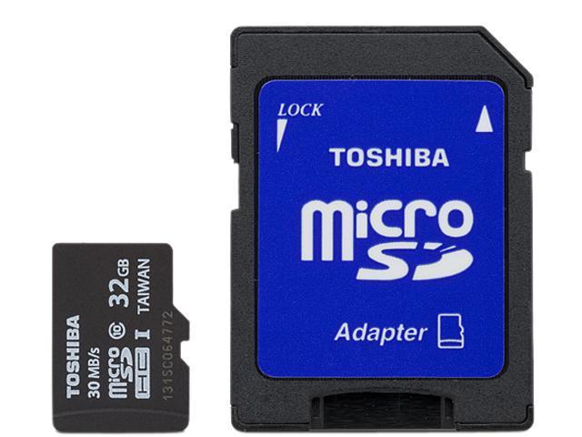 Toshiba 32GB microSDHC Flash Card With Adapter Model PFM032U-1DCK