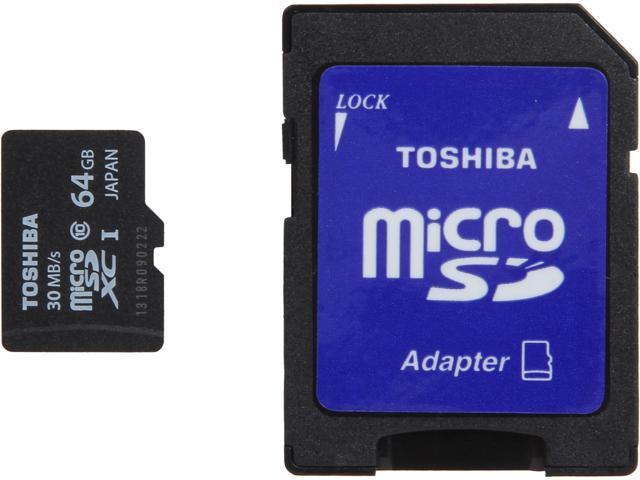 Toshiba 64GB microSDXC Flash Card With Adapter Model PFM064U-1DCK