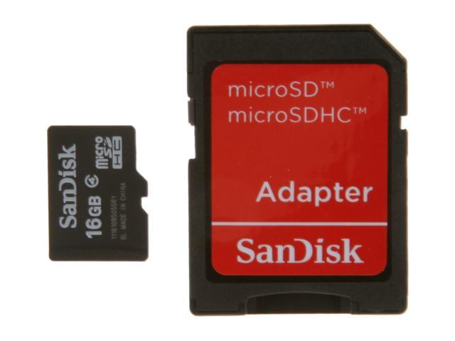 SanDisk 16GB microSDHC Flash Card w/ Adapter Model SDSDQM-016G-B35A