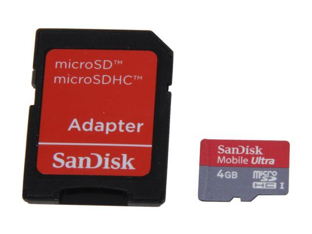 SanDisk Mobile Ultra 4GB microSDHC Flash Card Model SDSDQY-004G-A11A
