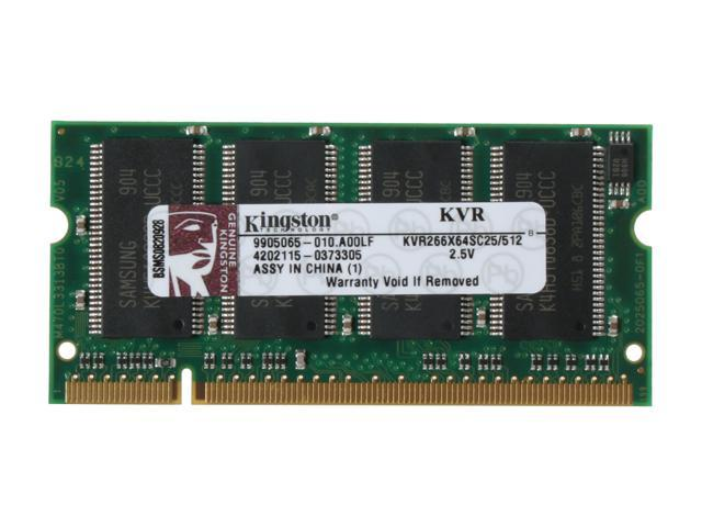 Kingston ValueRAM 512MB 200-Pin DDR SO-DIMM DDR 266 (PC 2100) Laptop Memory Model KVR266X64SC25/512