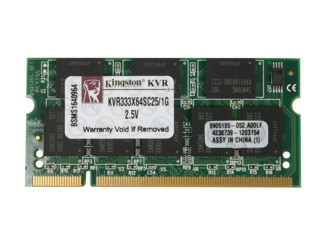 Kingston ValueRAM 1GB 200-Pin DDR SO-DIMM DDR 333 (PC 2700) Laptop Memory Model KVR333X64SC25/1G