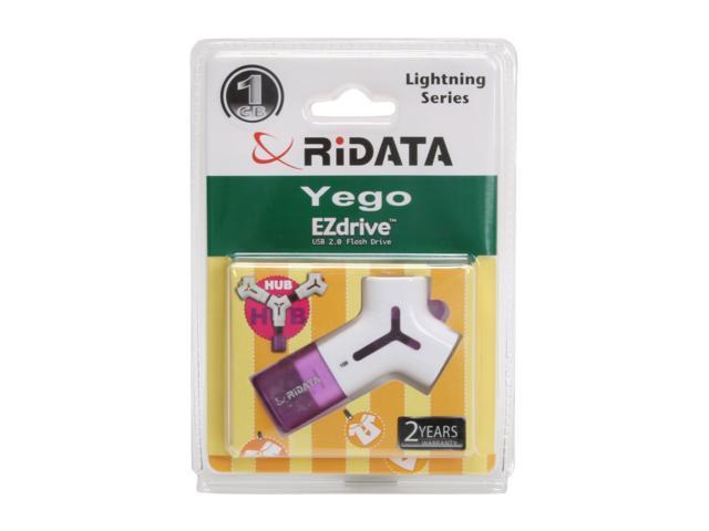 RiDATA YEGO USB 2.0 Flash Hub Drive, 1GB Storage + 2 Additional USB ports EZR1G-Y-LIG6 Purple