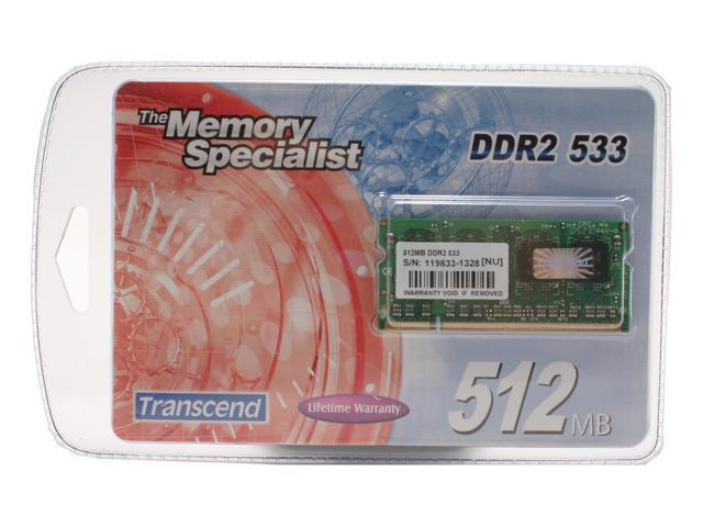 Transcend 512MB 200-Pin DDR2 SO-DIMM DDR2 533 (PC2 4200) Laptop Memory Model TS64MSQ64V5J