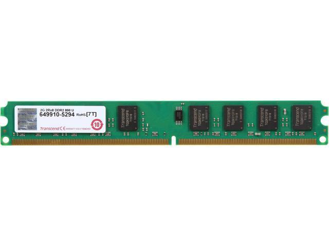 Transcend 2GB 240-Pin DDR2 SDRAM DDR2 800 (PC2 6400) Desktop Memory Model JM800QLU-2G