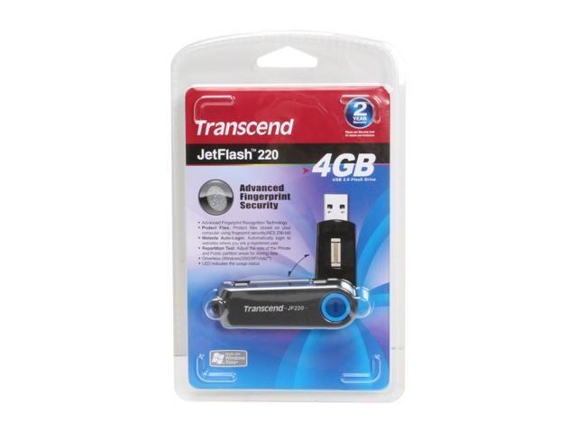 Transcend JetFlash 220 4GB Fingerprint Flash Drive (USB2.0 Portable) 256bit AES Encryption Model TS4GJF220