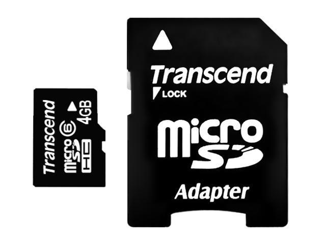 Transcend 4GB microSDHC Flash Card Model TS4GUSDHC6
